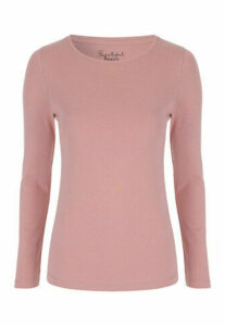 Womens Pink Crew Neck Long Sleeve T-Shirt