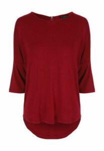 Womens Red 3/4 Sleeve Zip Back Top