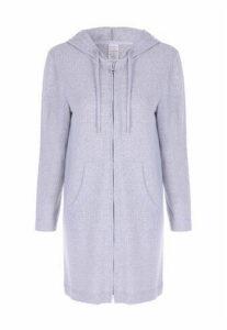 Womens Grey Soft Touch Pyjama Long Line Zip Hoody