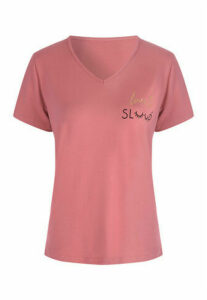 Womens Pink Soft Touch Slogan Pyjama Top