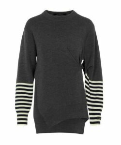 Pinch Stripe-Sleeve Knit Jumper