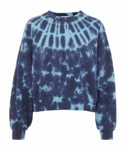 Balloon-Sleeve Cotton Tie-Dye Sweater