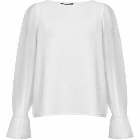 French Connection Phyliss Sheer Jersey Top