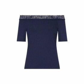 Yumi Lace Rib Bardot Top