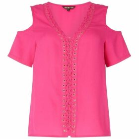 Biba Eyelet detail cold shoulder blouse