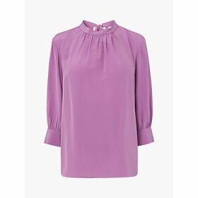 L.K.Bennett Anderson Silk Bow Back Blouse, Lilac