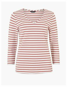 M&S Collection Ponte Striped 3/4 Sleeve T-Shirt