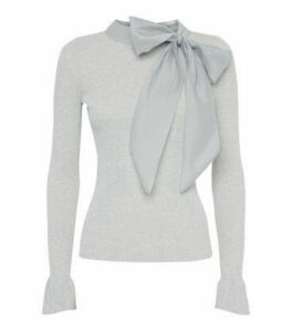 Cameo Rose Pale Grey Bow Neck Jumper New Look