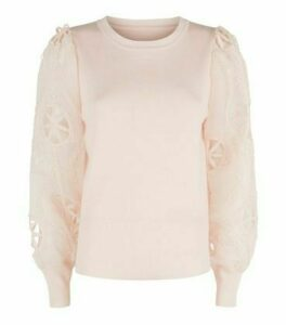 Cameo Rose Pale Pink Broderie Puff Sleeve Jumper New Look