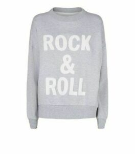 Cameo Rose Pale Grey Rock And Roll Slogan Sweatshirt New Look