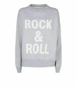 Cameo Rose Pale Grey Rock And Roll Slogan Sweatshirt New Look