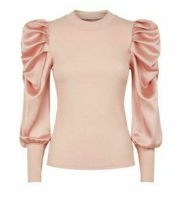 Cameo Rose Pale Pink Satin Puff Sleeve Top New Look