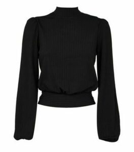 Black Ribbed Tie Back Top New Look