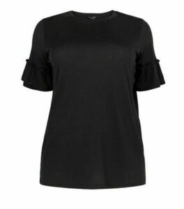 Curves Black Frill Sleeve T-Shirt New Look