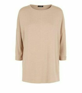 Camel Fine Knit Oversized Top New Look