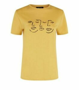 Mustard Sketch Face Print T-Shirt New Look