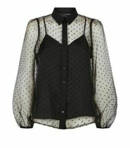 Black Spot Mesh Puff Sleeve Shirt New Look