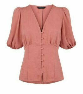 Mid Pink Button Front Puff Sleeve Blouse New Look