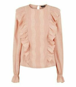 Pale Pink Frill Laser Cut Textured Top New Look