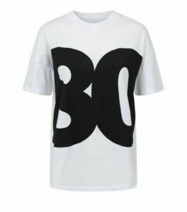 Noisy May White 80s Slogan T-Shirt New Look