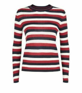 JDY Blue Stripe Ribbed Jumper New Look