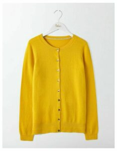 Cashmere Crew Cardigan Yellow Women Boden, Orange