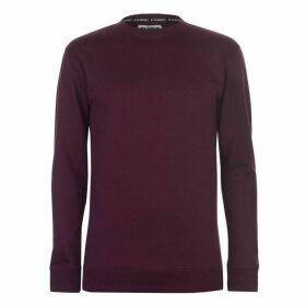 Fabric Crew Neck Sweatshirt Mens - Burgundy