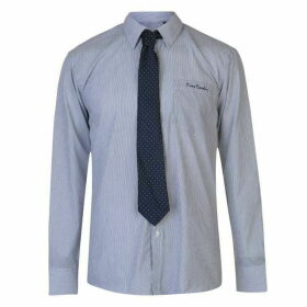 Pierre Cardin Long Sleeve Shirt Mens with Giorgio Tie - Navy/Wht Stripe
