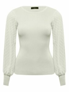 Women's Ladies dobby sleeve jumper with crew neck long sleeve slim fit