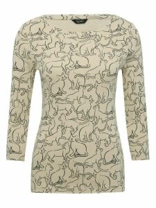 Women's Ladies Spirit Cat print three quarter length sleeve top