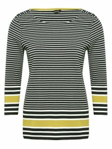 Women's Ladies navy Button shoulder striped top