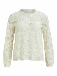 Women's Ladies VILA Lace Top Long Sleeves Crochet Neckline with Cami