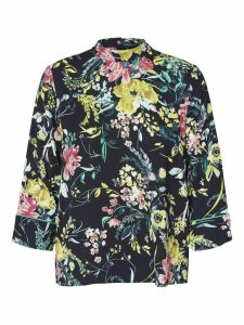 Women's Ladies Vero Moda Floral Top with High Neck and Cropped Sleeves