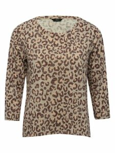 Women's Ladies leopard print top three quarter length sleeve scoop neck