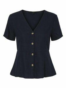 Women's Vero Moda ladies linen peplum top button front