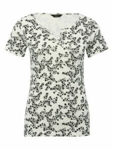 Women's Ladies white floral print notch neck t-shirt with short half sleeve slim fit 100% cotton