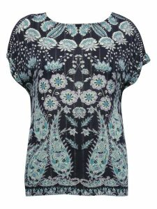 Women's Ladies plus size paisley print t-shirt short sleeve crew neck jersey back woven front