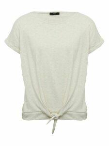 Women's Ladies plain tie front t-shirt short sleeve crew neck tie hem