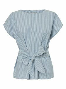 Women's Vero Moda ladies cotton blue stripe tie front top short sleeve crew neck pull on