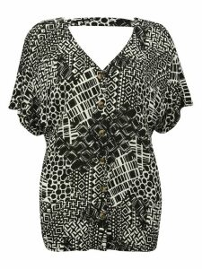 Women's Plus size ladies tribal print top short sleeve v neck button front crinkle fabric