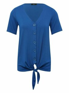 Women's Ladies plain tie front top cobalt blue short sleeve v neck button front