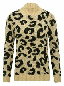 Women's Ladies leopard print knit jumper long sleeve funnel neck