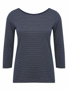 Women's Ladies navy stripe top with scoop neck three quarter sleeves cotton jersey