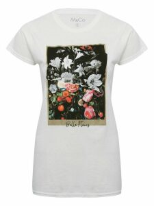 Women's Ladies white floral graphic print t-shirt with crew neck short sleeves relaxed fit cotton