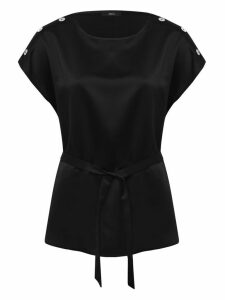Women's Ladies short sleeve scoop neck satin longline belted top