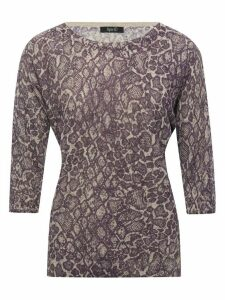 Women's Ladies Spirit lilac snake shimmer print top three quarter sleeves slash neck