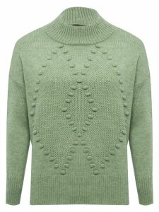 Women's Ladies funnel neck diamond knit jumper