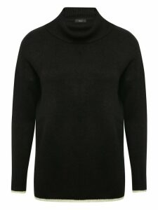 Women's Ladies cowl neck tipped edge jumper long sleeves knit fabric plain