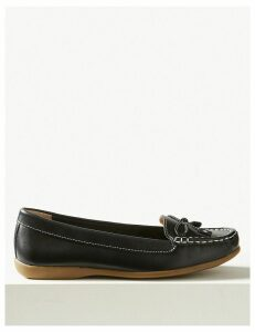 M&S Collection Leather Bow Boat Shoes