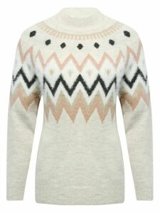 Women's Ladies ivory fairisle knit jumper zip zag design turtleneck long sleeves